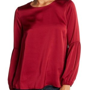 Bobeau red bubble sleeve satin blouse B